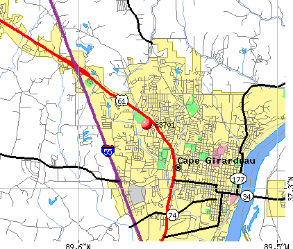 Cape Girardeau, MO (63701) map