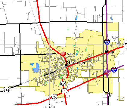 Sikeston, MO (63801) map