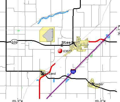 Steele, MO (63877) map