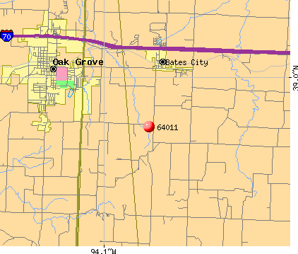 Bates City, MO (64011) map