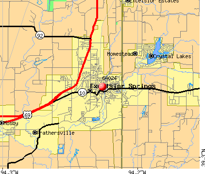 Excelsior Springs, MO (64024) map