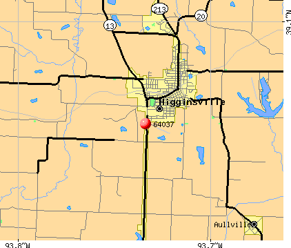 Higginsville, MO (64037) map