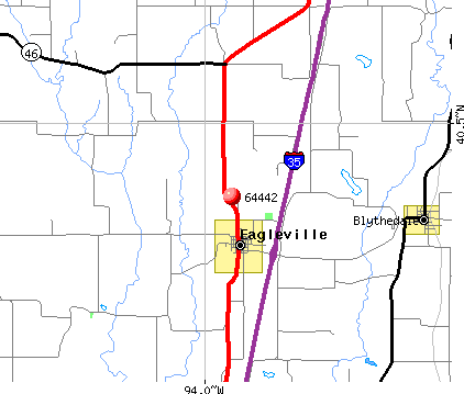 Eagleville, MO (64442) map