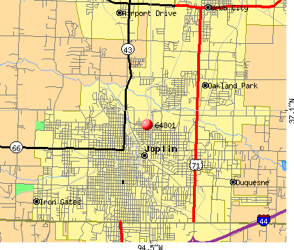 Joplin, MO (64801) map
