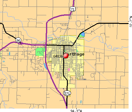 Carytown, MO (64836) map