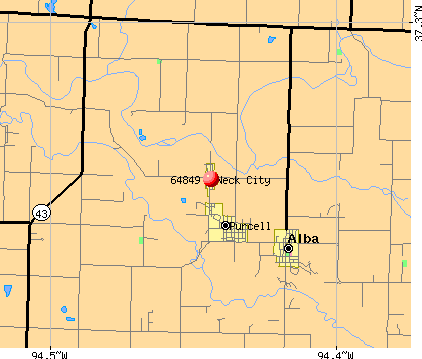 Neck City, MO (64849) map
