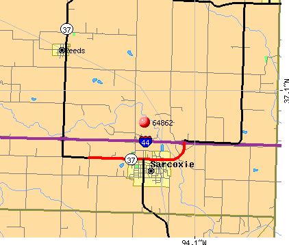 Sarcoxie, MO (64862) map