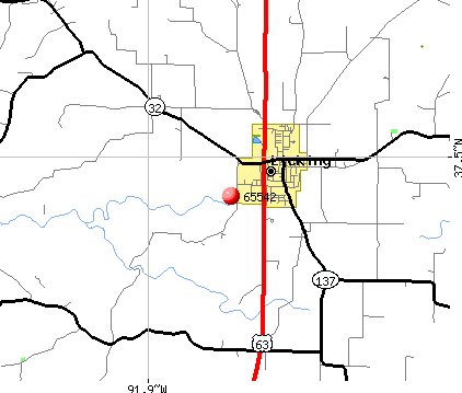 Licking, MO (65542) map