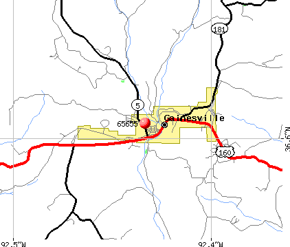 Gainesville, MO (65655) map