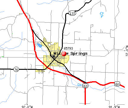 Willow Springs, MO (65793) map