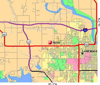 Lawrence, KS (66049) map