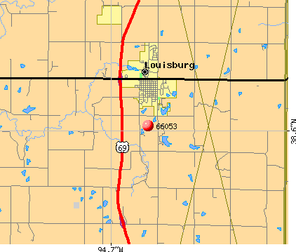 Louisburg, KS (66053) map