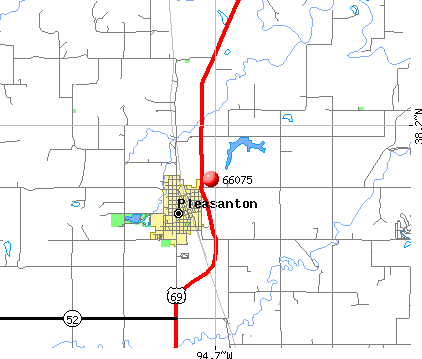 Pleasanton, KS (66075) map