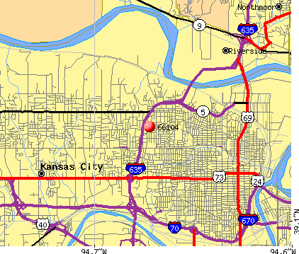 Kansas City, KS (66104) map