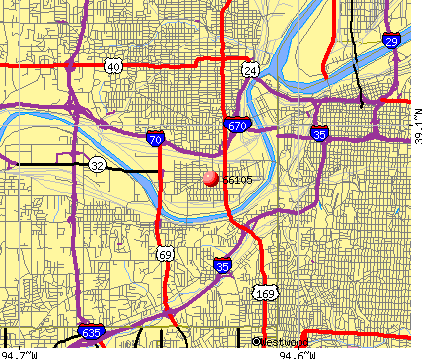 Kansas City, KS (66105) map