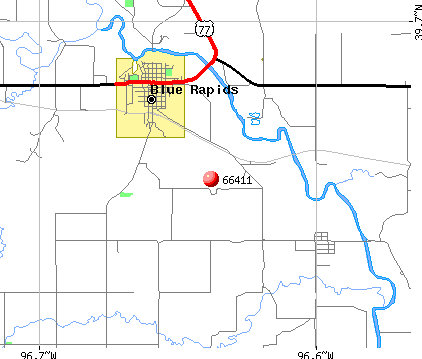 Blue Rapids, KS (66411) map