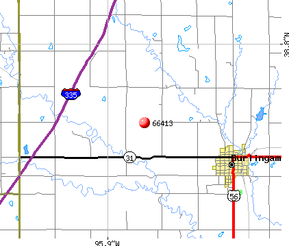Burlingame, KS (66413) map