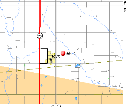 Hoyt, KS (66440) map