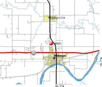 Wamego, KS (66547) map