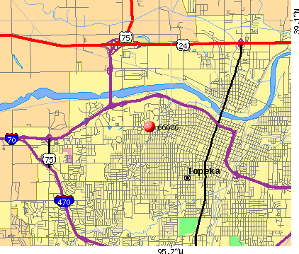 Topeka, KS (66606) map
