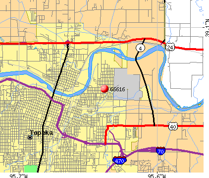 Topeka, KS (66616) map