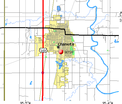Chanute, KS (66720) map