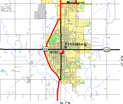 Pittsburg, KS (66762) map