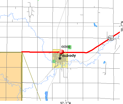 Peabody, KS (66866) map