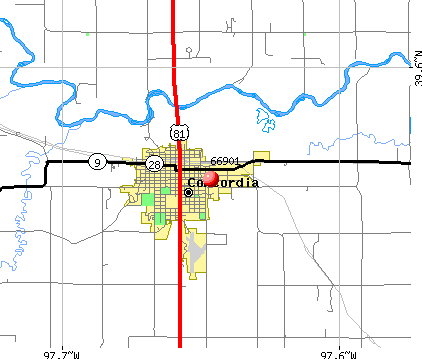 Concordia, KS (66901) map