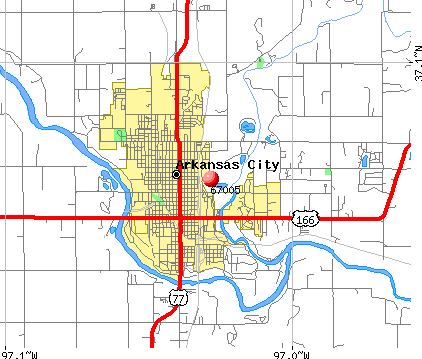 Arkansas City, KS (67005) map