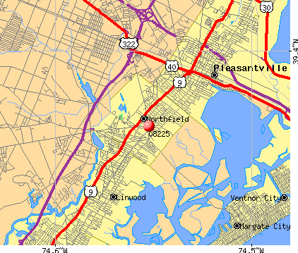 Northfield, NJ (08225) map
