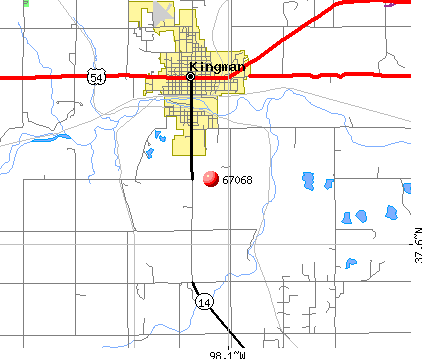 Kingman, KS (67068) map