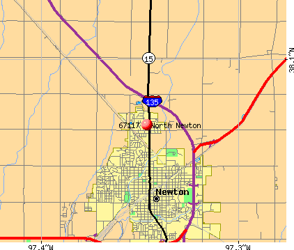 North Newton, KS (67117) map