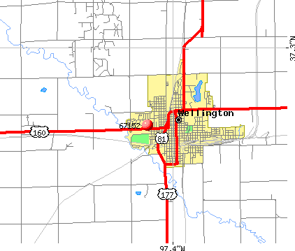 Wellington, KS (67152) map
