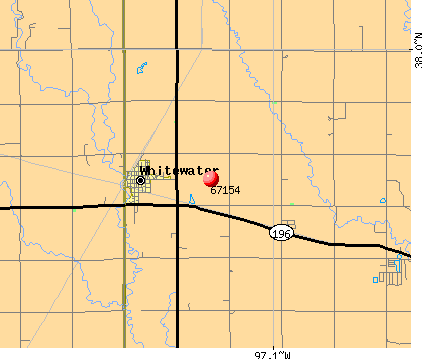 Whitewater, KS (67154) map