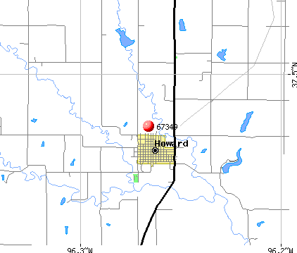 Howard, KS (67349) map