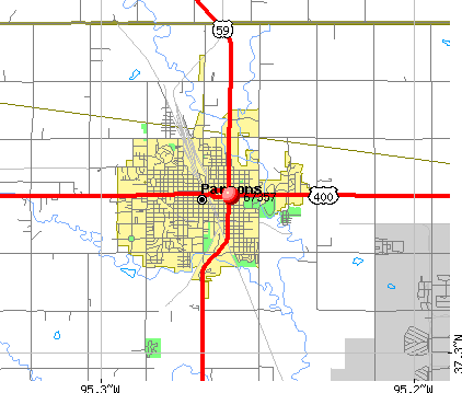 Parsons, KS (67357) map