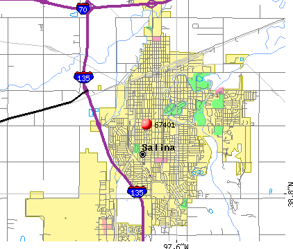 Salina, KS (67401) map