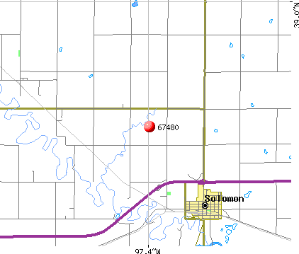 Solomon, KS (67480) map