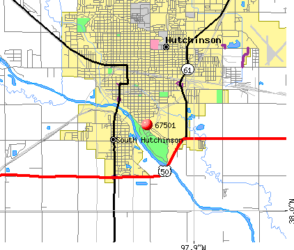 Hutchinson, KS (67501) map