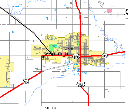 Great Bend, KS (67530) map