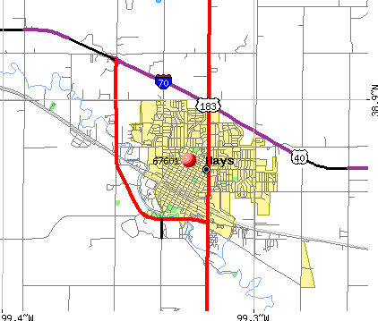 Hays, KS (67601) map