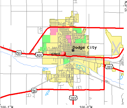 Dodge City, KS (67801) map