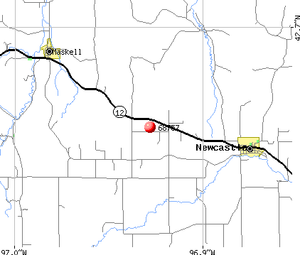 Newcastle, NE (68757) map