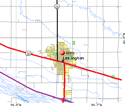 Lexington, NE (68850) map