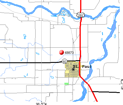 St. Paul, NE (68873) map
