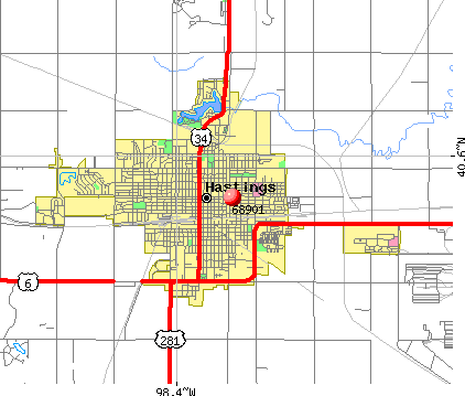 Hastings, NE (68901) map