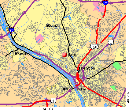 Trenton, NJ (08618) map