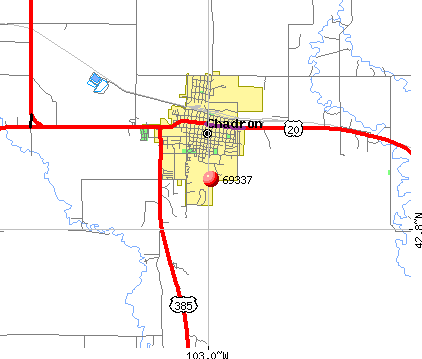 Chadron, NE (69337) map