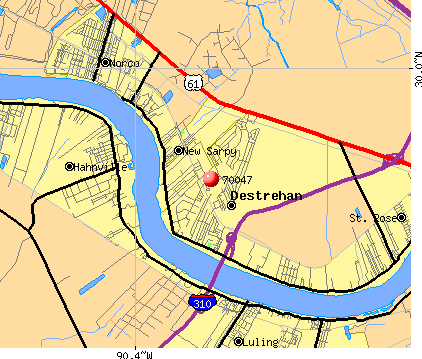 Destrehan, LA (70047) map